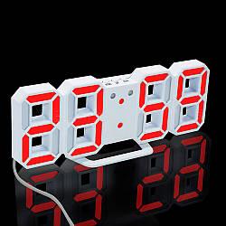 Часы настенные / настольные электронные белый+красный (Пластик, LED) + Адаптер сетевой