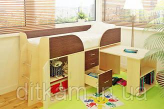 Детская кровать-чердак Карлсон Мини с выдвижным столом