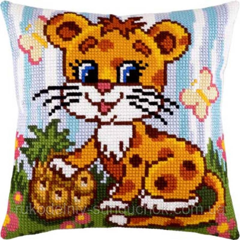 Набор для вышивки крестом Чарівниця Z-26 Маленький леопард. Подушка