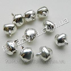 Бубенчик металлический для декора, 10мм серебряный