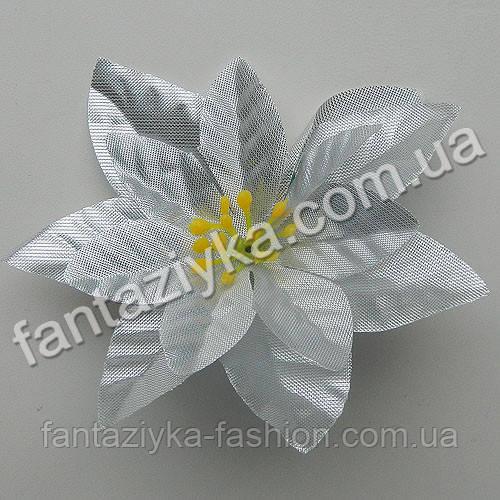 Рождественский цветок пуансетия 10см, серебро парча