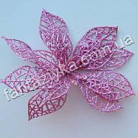 Пуансетия в блестках розовая большая 13см