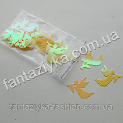 Пайетки фигерные декоративные Ангел желтый перламутр, 2г