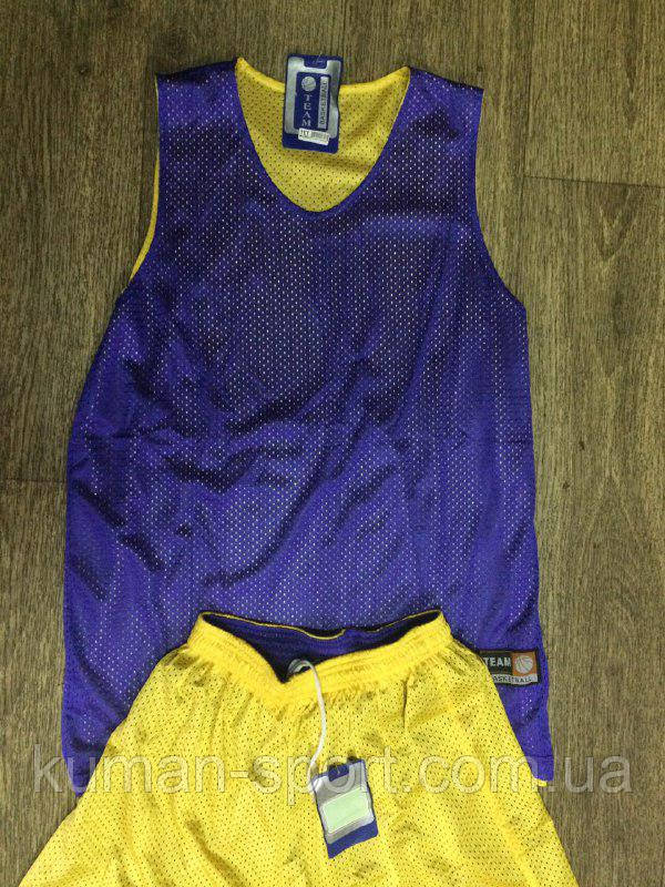 Форма баскетбольная Team Basketball двусторонняя серенево-желтая, фото 1