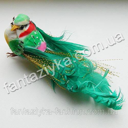 Искусственная жар-птица 14см, зеленая
