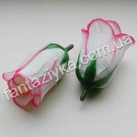 Бутон розы бело-розовый 5см