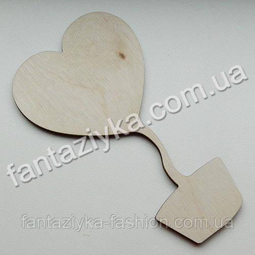 Заготовка из фанеры для декупажа, Топиарий сердце 13,5см