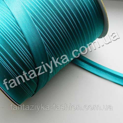 Косая бейка атласная, цвет морская волна