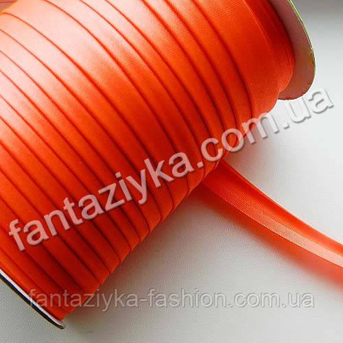 Атласная косая бейка, цвет кислотный оранжевый