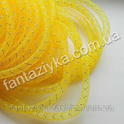 Трубчатый регилин с люрексом желтый