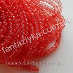 Трубчатый регилин с люрексом красный