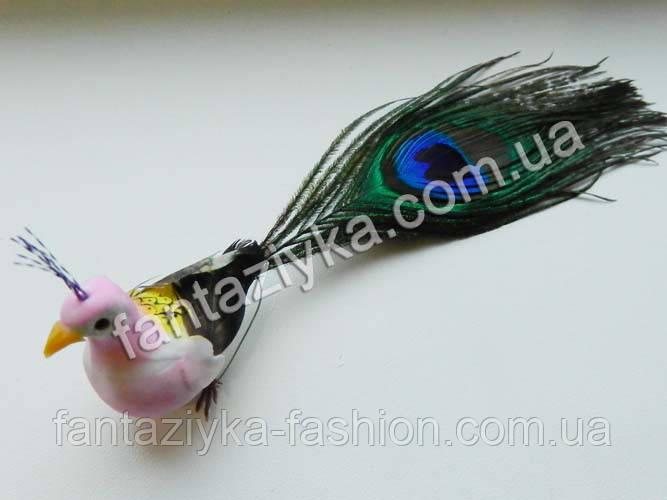 Декоративная птичка, павлин сиреневый 15см