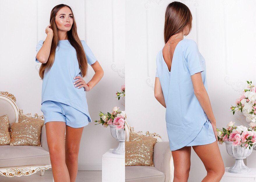 8db379808479 Модный женский костюм, футболка асимметричной длины и шорты, нежно-голубого  цвета - Интернет