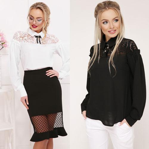 4b4978b3f9c Женская блузка с кружевом длинный рукав белая и черная купить в ...