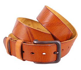 Мужской ремень из натуральной кожи под джинсы BUFF000-3 рыжий