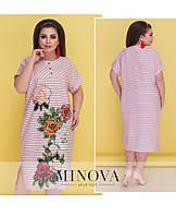 Красочное летнее платье прямого кроя с короткими рукавами с манжетами Размеры: 50,52,54,56
