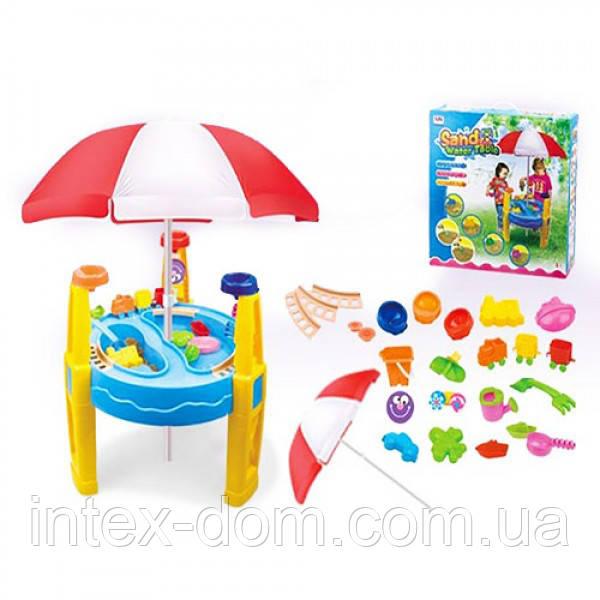 Столик-песочница 8804A 62,5-54-40см, ведро, лейка, лапатка, грабли, вагонч, формоч