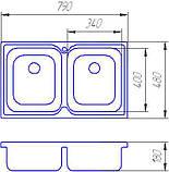Кухонная мойка Family 401 decor 0.8  180мм, фото 2