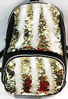 Рюкзаки с паетками и стразами (золото 2хсторон)26*30, фото 1