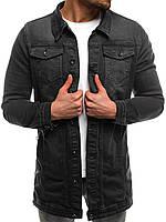 Мужская джинсовая куртка, чёрная 0211