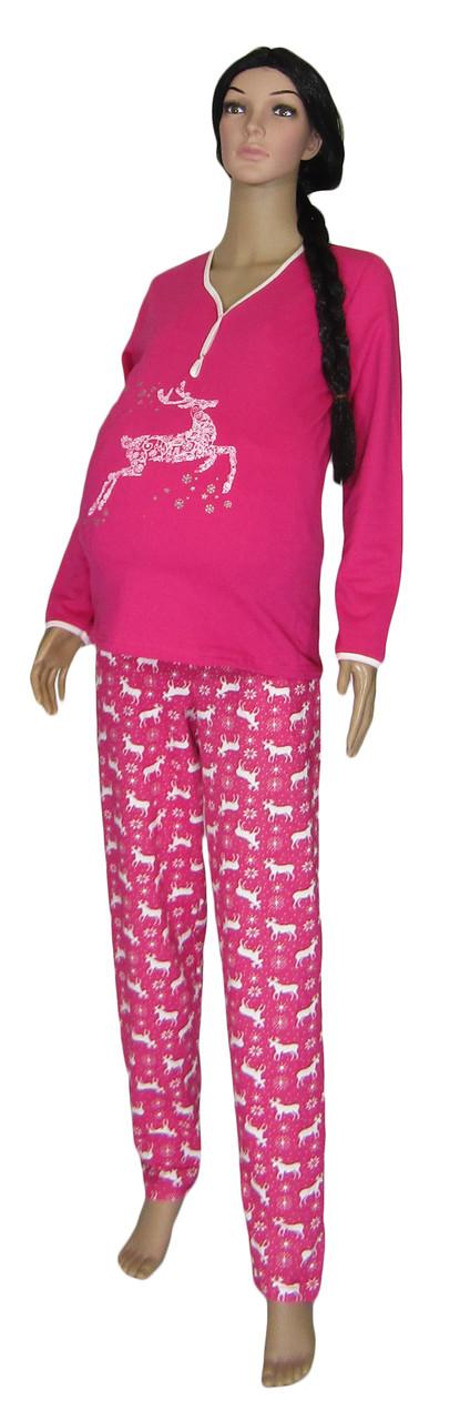 Пижама теплая новогодняя 03218-4 Олени для беременных и кормящих, р.р.52-54