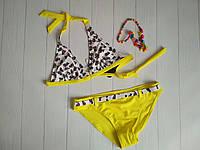 Подростковый купальник для девочки желтыйс принтом черный бант в белый горох