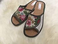 Тапочки из льона з цветами
