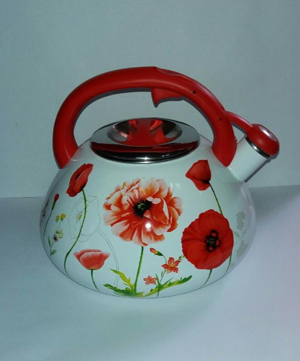 """Чайник эмалированный 3.2 литра """"Розовый мак"""""""