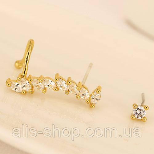 Ультрамодные серёжки на ушную раковину - СЕРЬГИ КАФФЫ золотая кошечка