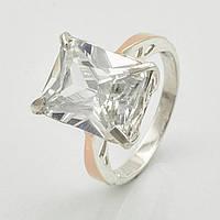 """Серебряное кольцо с золотыми пластинами """"Тюльпан"""", вставка белый фианит, вес 4.68 г, размер 16.5"""