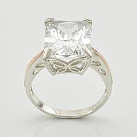 """Серебряное кольцо с золотыми пластинами """"Тюльпан"""", вставка белый фианит, вес 4.68 г, размер 17"""