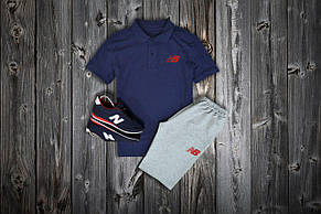 Комплект Поло + шорты New Balance, темносиний - серый