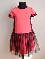 Красивое детское платье для девочки кораллового цвета