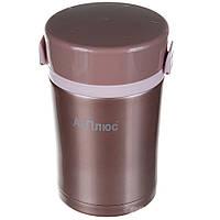 Термос пищевой металлический 1л 3 в 1 A-plus 1669 Pink, фото 1
