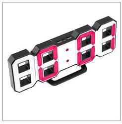 Часы настенные / настольные электронные черный+белый+красный (Пластик, LED) + Адаптер сетевой