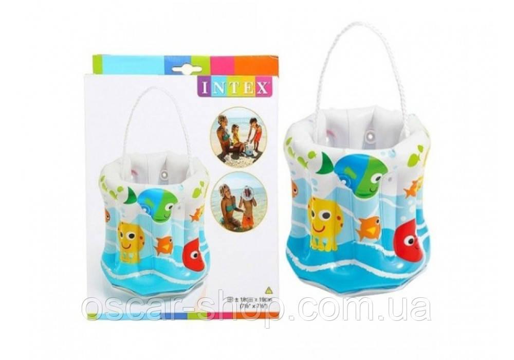 Ведро надувное винил / Игрушка надувная для пляжа / Надувная игрушка ведерко детское
