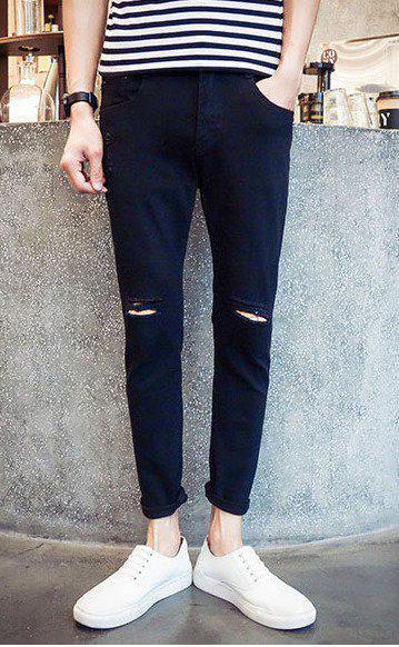 Чорні джинси з розрізами на колінах, L