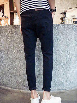 Чорні джинси з розрізами на колінах, L, фото 2