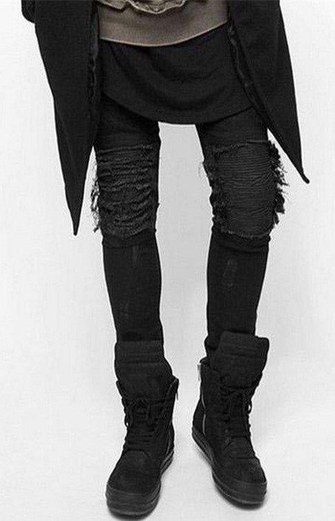 Черные джинсы с нитками на коленях, S