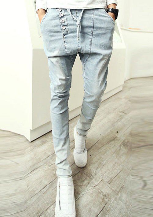 Светлые джинсы со шнурками, S