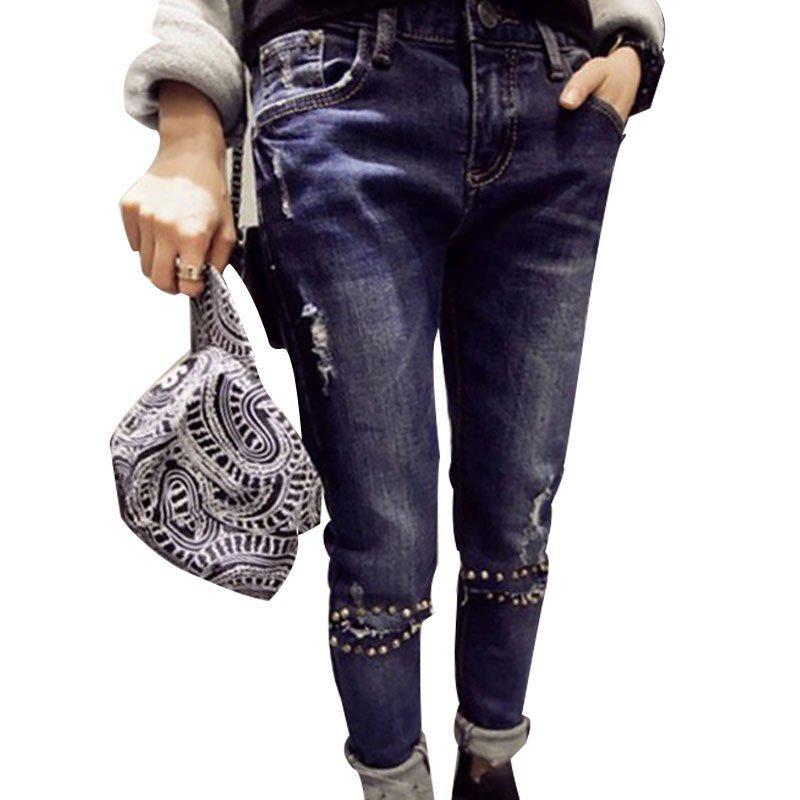 Синие джинсы с кнопками на коленях,  L