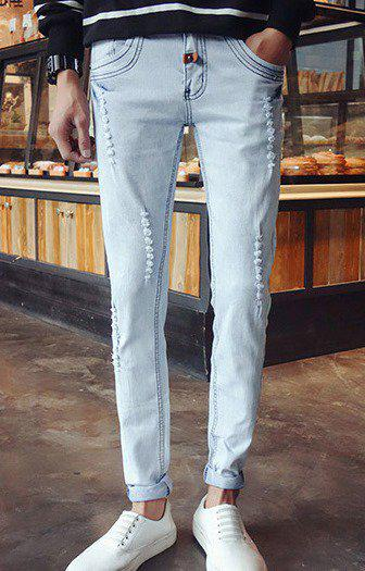 Светлые джинсы с потертостями,  XL