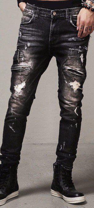 Рваные джинсы с карманами на молниях, M