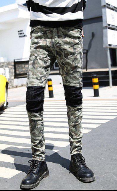 Камуфляжные джинсы со вставками на коленях,  L