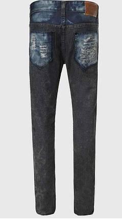 Джинси з потертостями та нитками на колінах, XS, фото 2