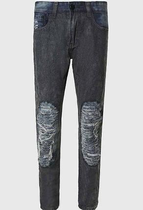 Джинсы с потертостями и нитками на коленях, L, фото 2