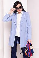 Женский короткий плащ голубого цвета. Модель 13632, фото 1