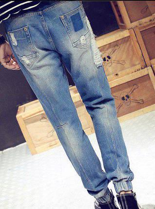 Джинси з нашитими білими нитками, XL, фото 2