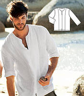 Льняная рубашка приталенного узкого кроя молодежная, подростковая, мужская
