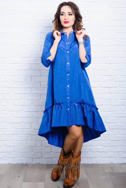 СТИЛЬНОЕ ПЛАТЬЕ-РУБАШКА ФЛОРА голубое с 42 по 58 размер(ЛБ)